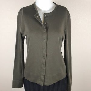 BROOKS BROTHERS GREEN BUTTON UP CARDIGAN SIZE M